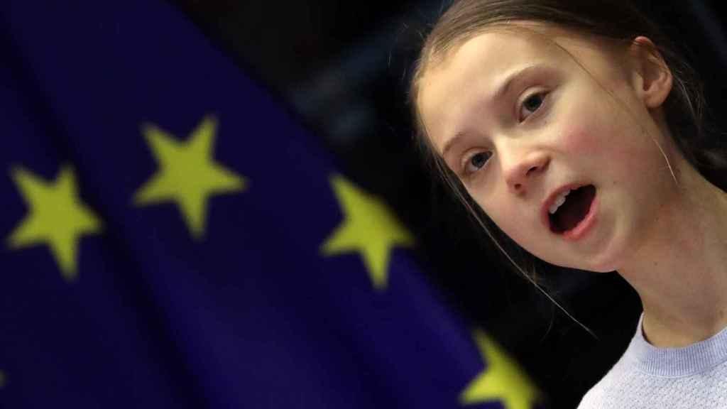 Greta Thunberg, durante su discurso de este miércoles en la Eurocámara
