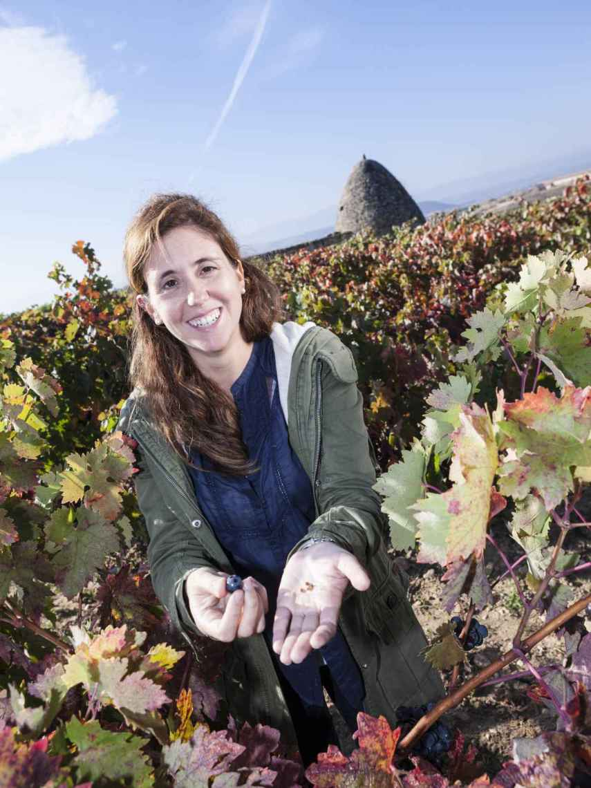 Emma en el viñedo.