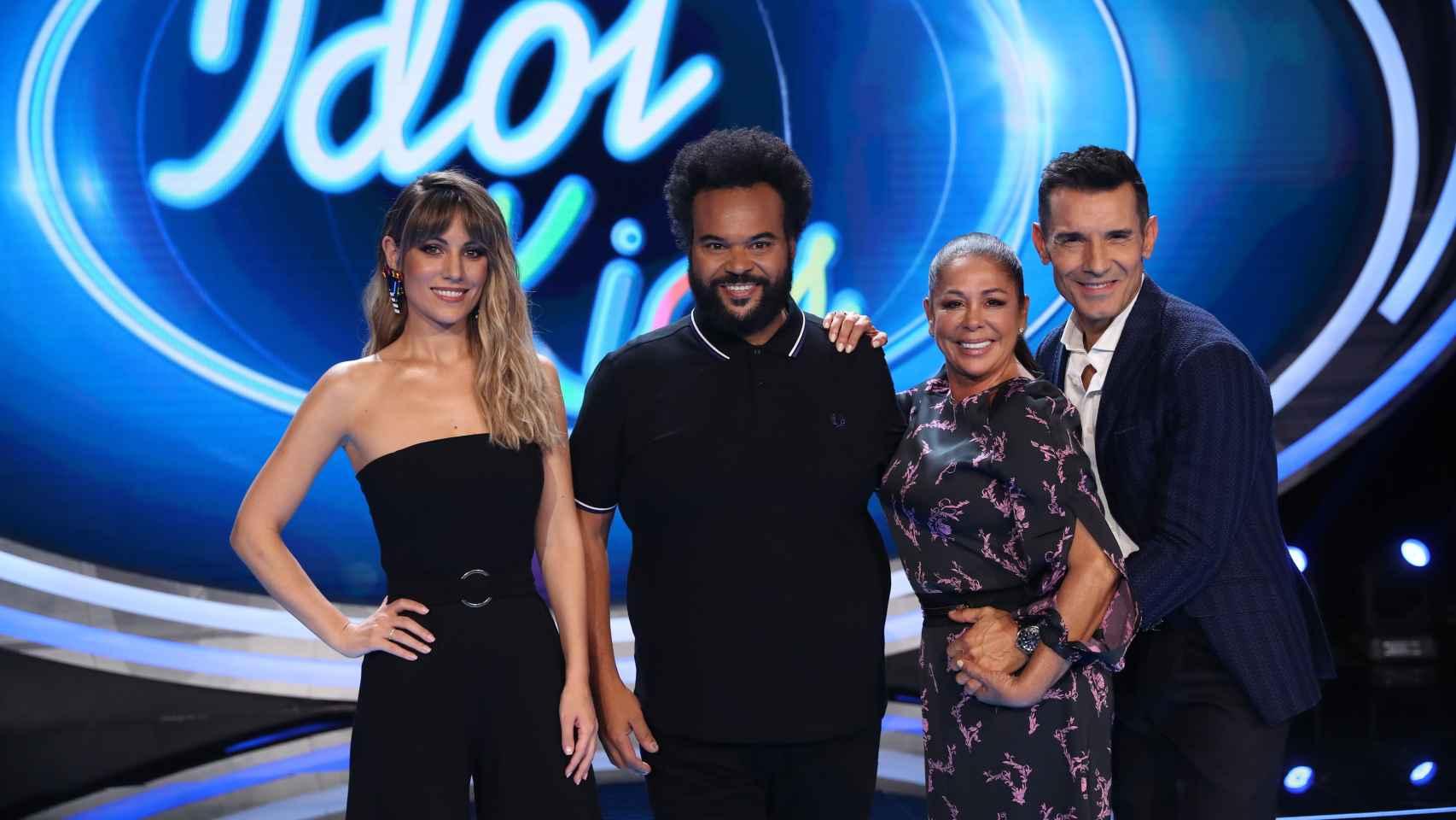 Edurne, Carlos Jean, Isabel Pantoja y Jesús Vázquez en la presentación de 'Idol Kids'.