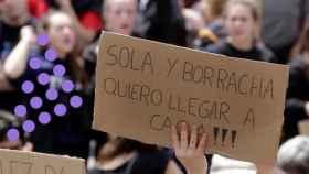 El lema de la polémica, frecuentemente usado en manifestaciones feministas.