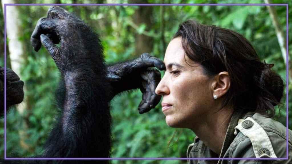 Rebeca Atencia junto a uno de los chimpancés que ha rescatado en el Congo.