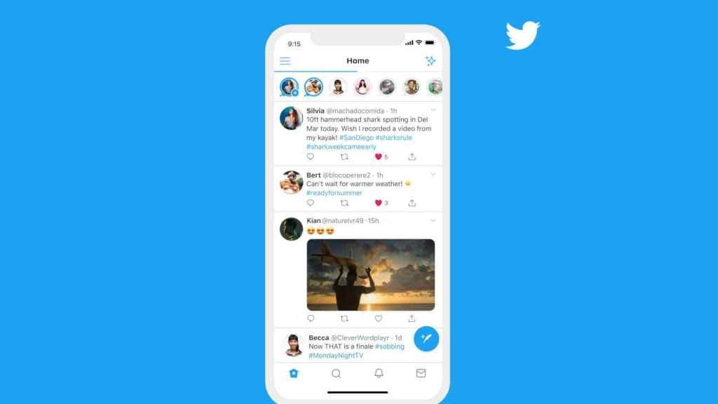 Los nuevos fleets de Twitter aparecen en la parte superior de la app
