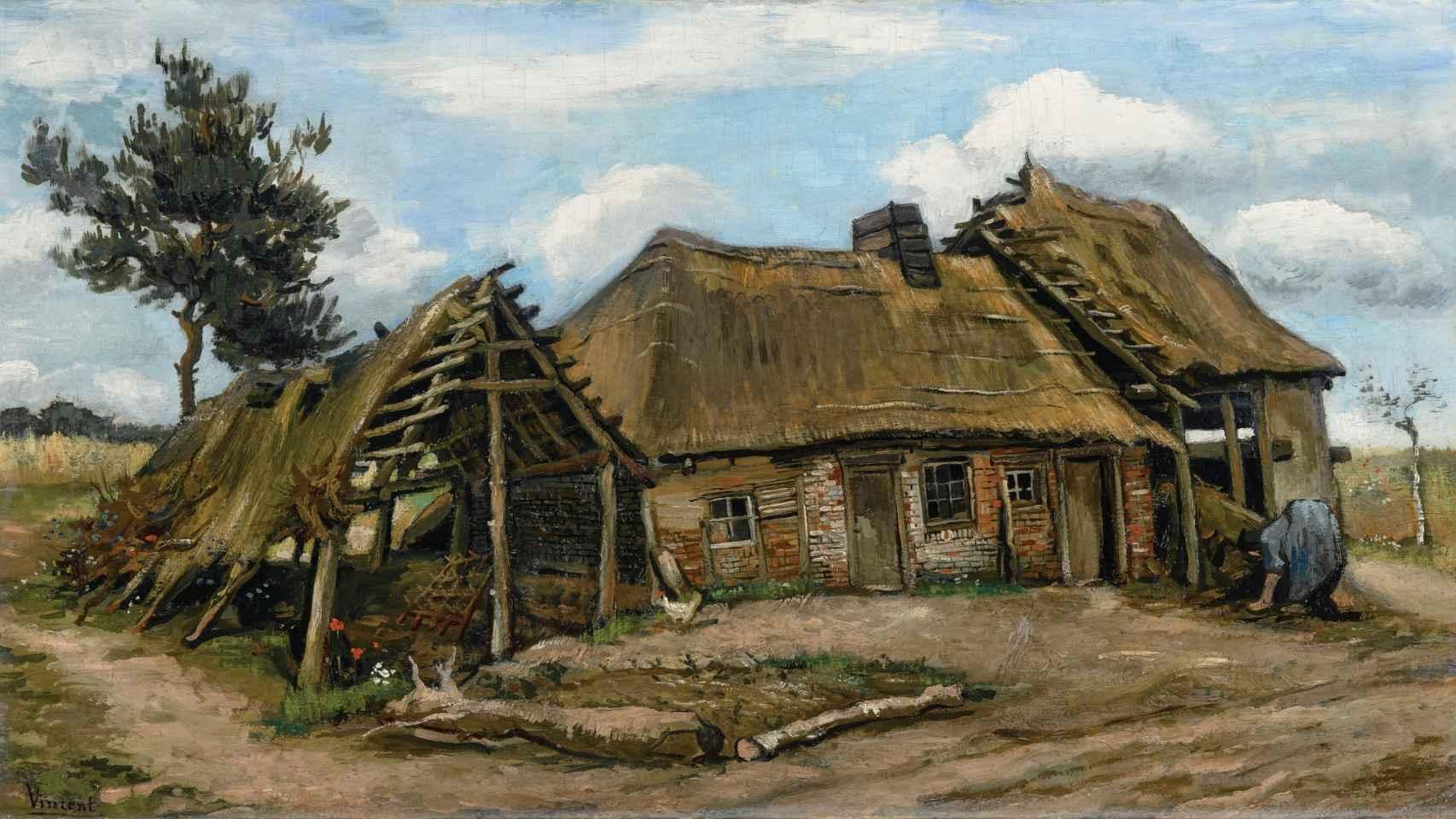 Mujer campesina frente a una cabaña', de Van Gogh.