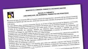 Manifiesto de la Comisión del 8-M de Madrid.