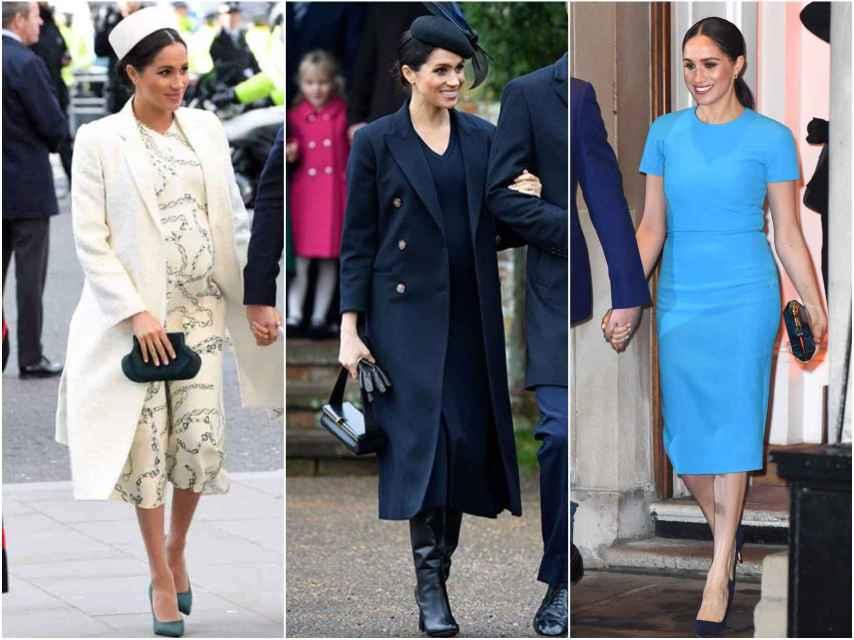 Meghan Markle con sus tres vestidos de Victoria Beckham.