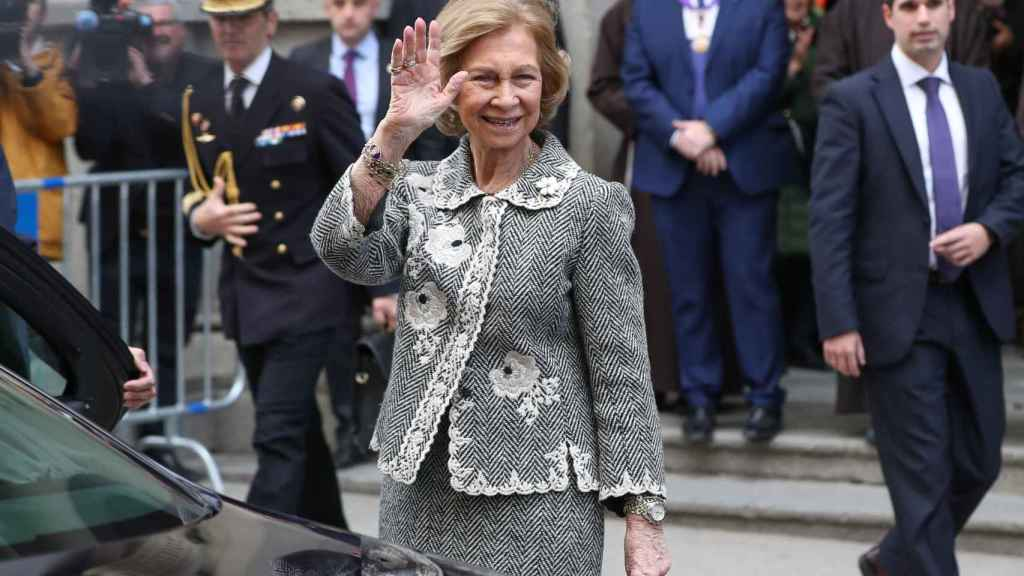 La reina emérita a su llegada a la basílica.