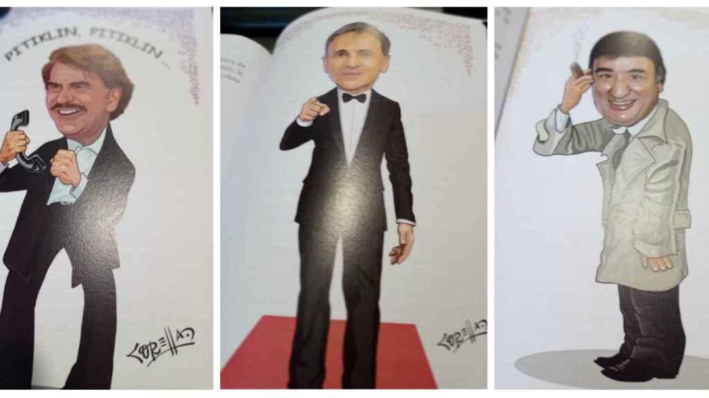 Bigote, José Mota y Tony Antonio, tres de las caricaturas que aparecen en el libro.
