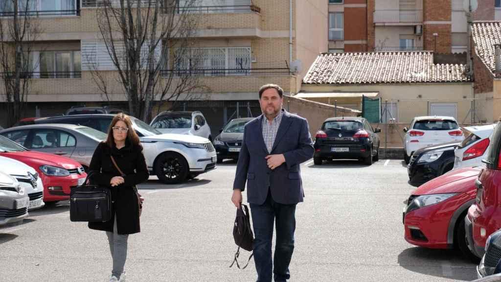 Oriol Junqueras llega a la universidad en Manresa, este jueves.