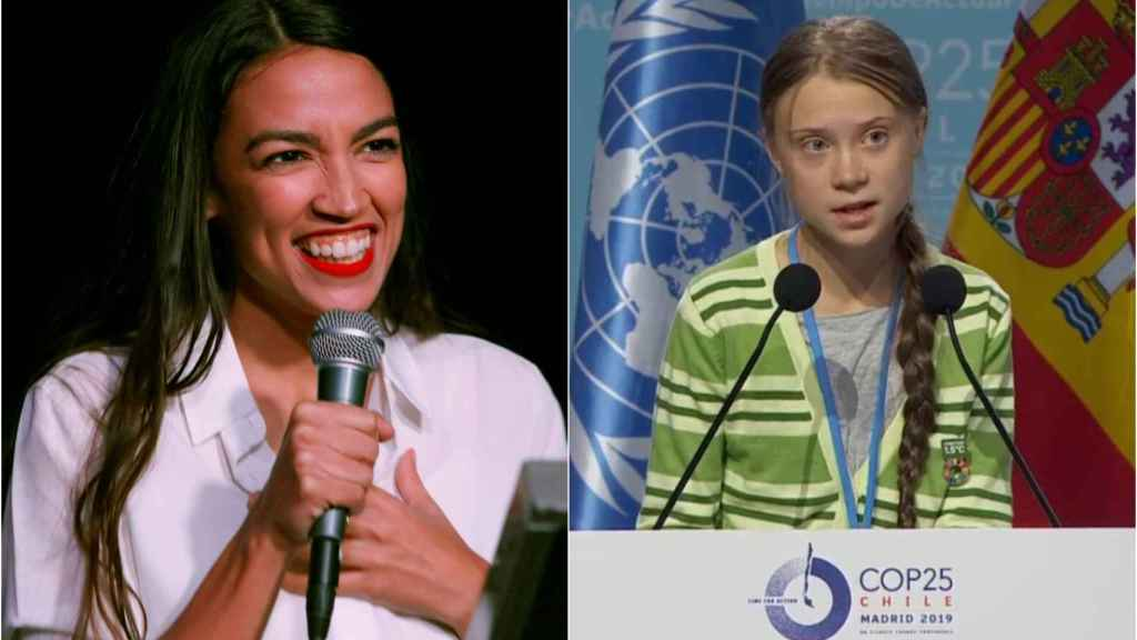 La congresista Alexandria Ocasio-Cortez  y la activista climática Greta Thunberg.