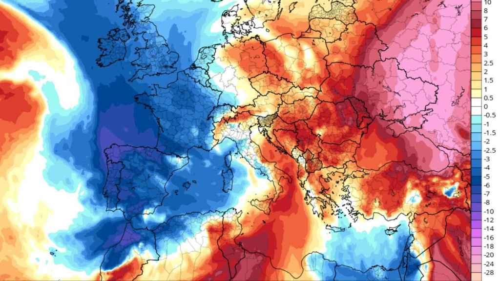 Anomalías de temperaturas previstas para el vienes 6 de marzo. Severe-weather.eu.