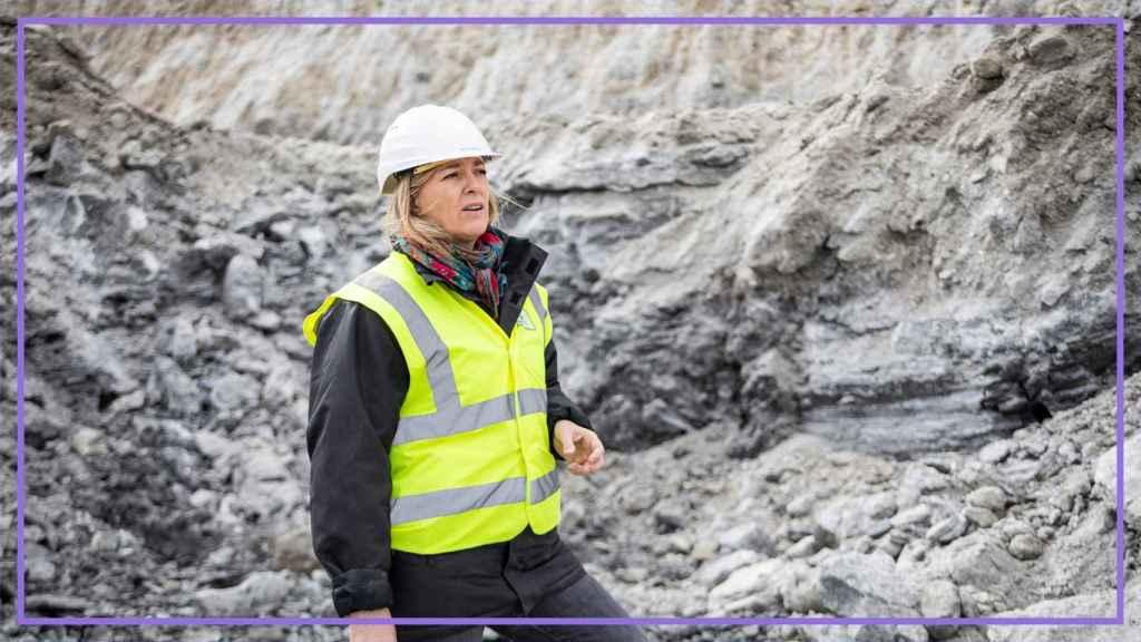 Victoria Plantalamor, CEO de Crimidesa, en la mina de sulfatos situada en Burgos.