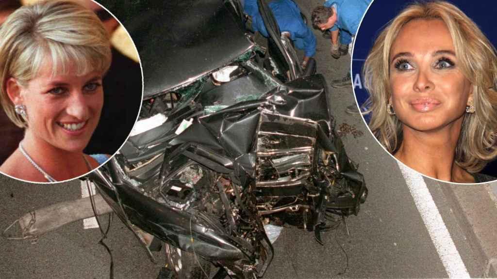 Diana, princesa de Gales, y Corinna, ex amante del rey emérito. En medio, el coche siniestrado donde murió Diana.