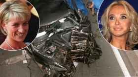 Diana, princesa de Gales, y Corinna zu Sayn-Wittgenstein, ex amante del rey emérito. En medio, el coche siniestrado donde murió Diana.