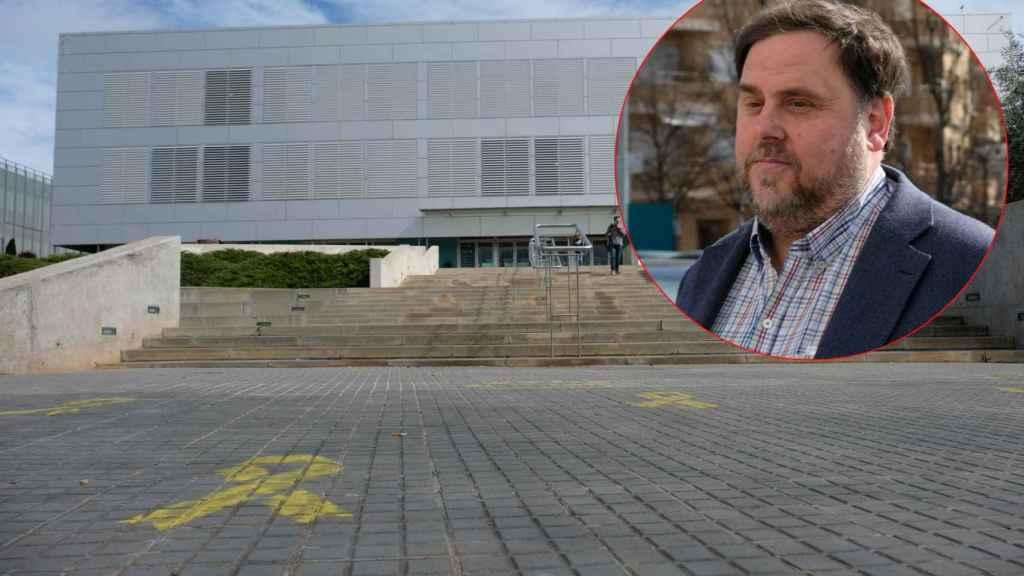 Oriol Junqueras y el campus de Manresa de la Universidad de Vic en el que dará clases.