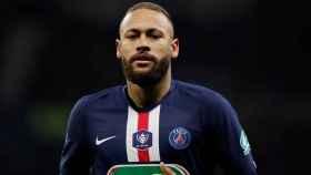 Neymar, durante el partido de Copa de Francia frente al Olympique de Lyon