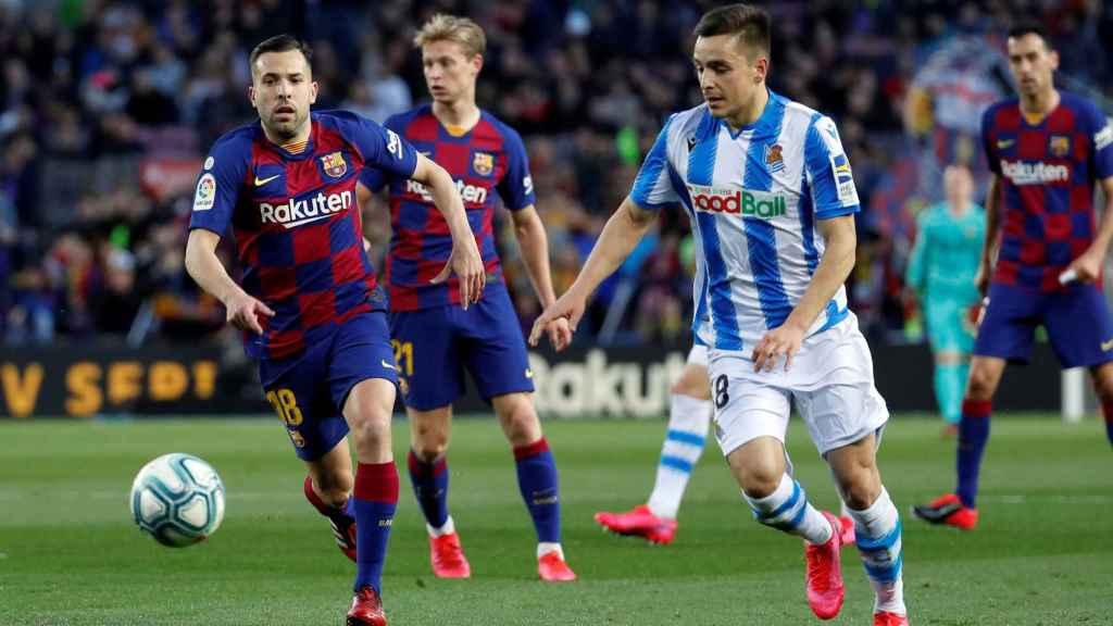 Jordi Alba, en un momento del partido ante la Real Sociedad