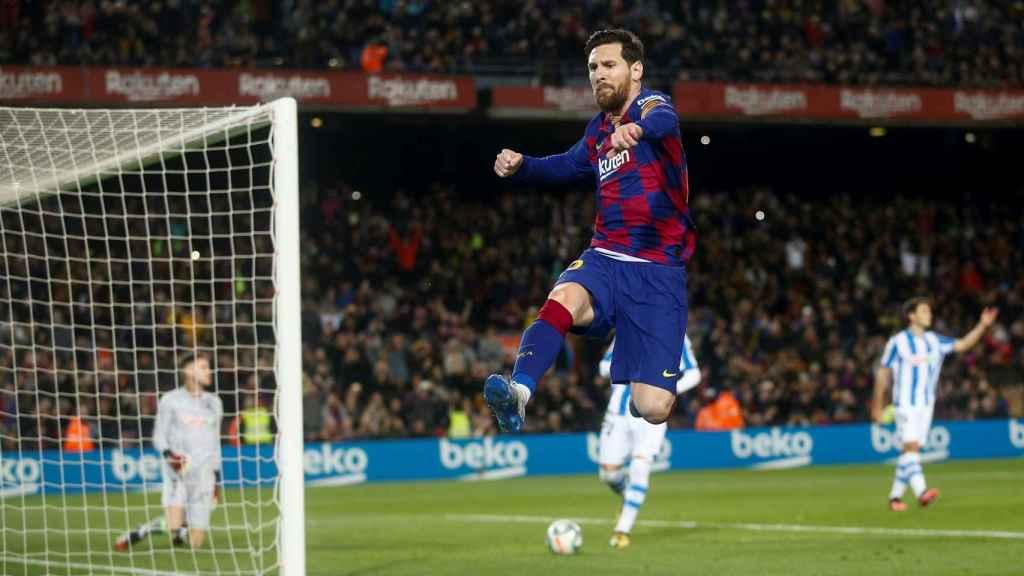 Messi, tras anotar el único gol del partido