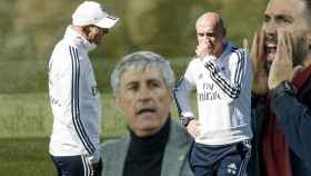Zinedine Zidane, Quique Setién, David Bettoni y Eder Sarabia