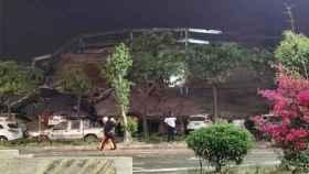 Los restos del Xinjia Hotel tras el derrumbe.