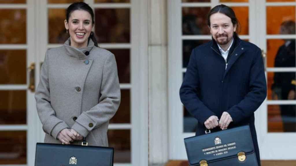 La ministra de Igualdad, Irene Montero, y el todavía vicepresidente segundo del Gobierno, Pablo Iglesias.