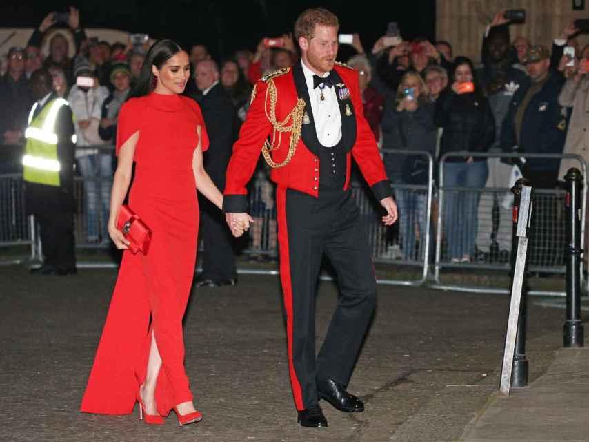 Harry y Meghan a su llegada al Royal Albert Hall.