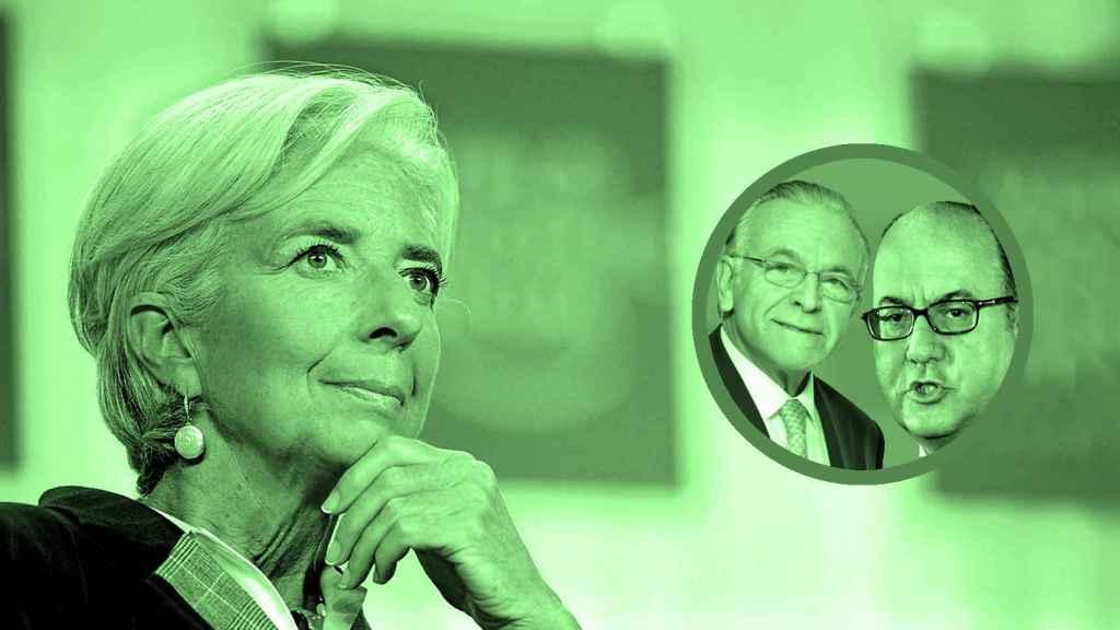 Christine Lagarde, José María Roldán e Isidro Fainé.