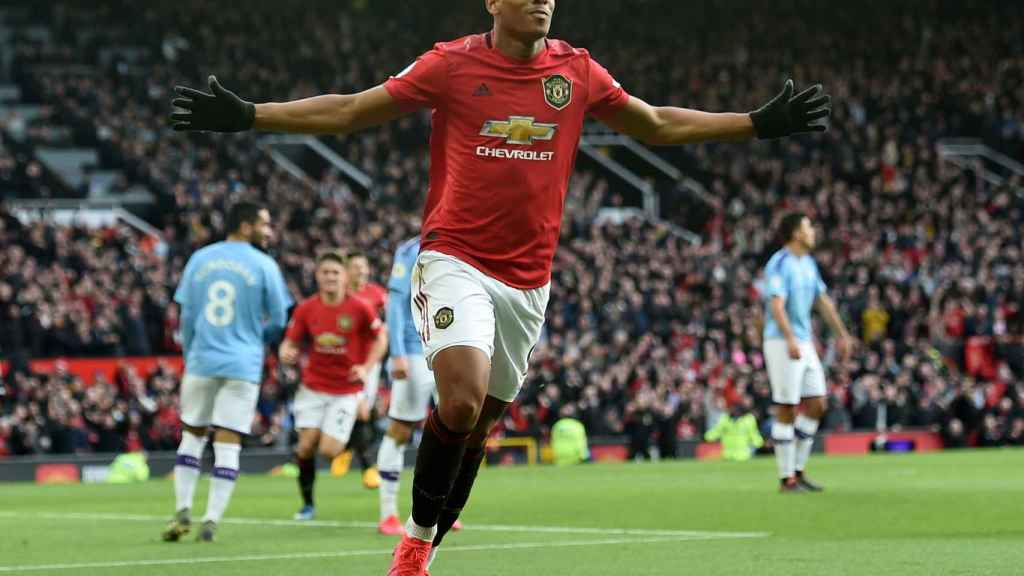 Anthony Martial celebrando un gol ante el Manchester City.