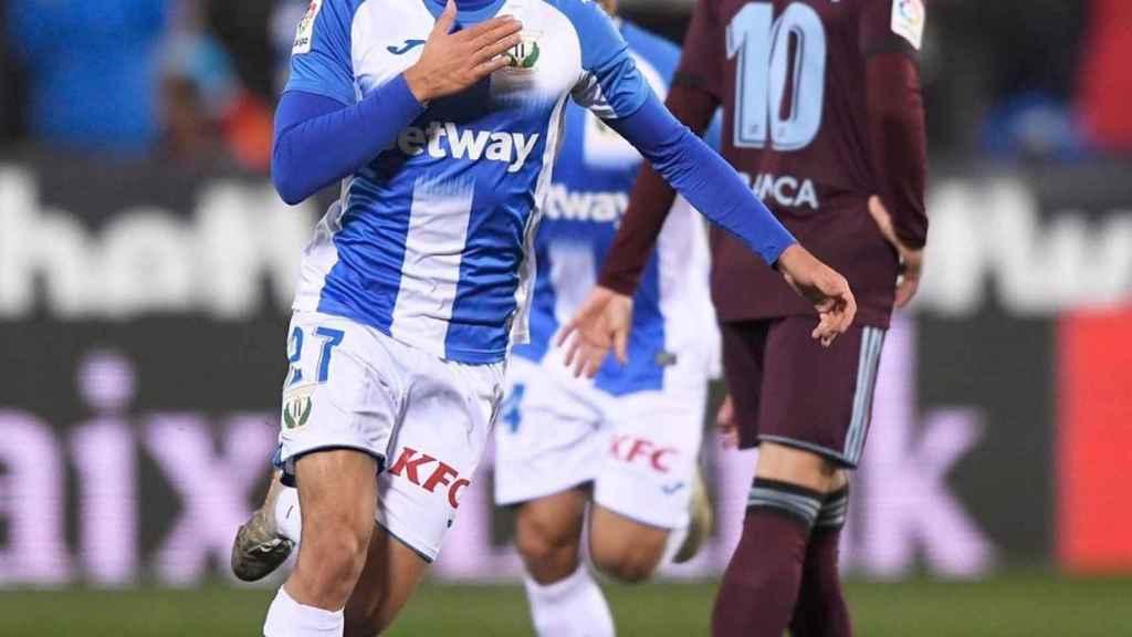 Óscar Rodríguez celebra su gol ante el Celta