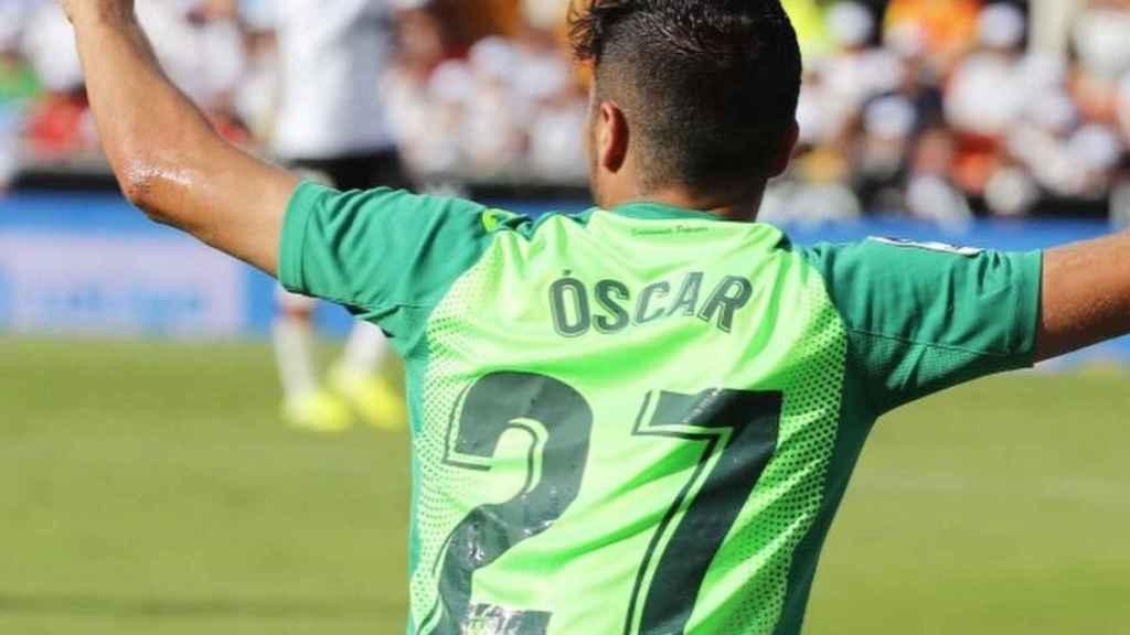 Óscar Rodríguez, celebrando un gol esta temporada