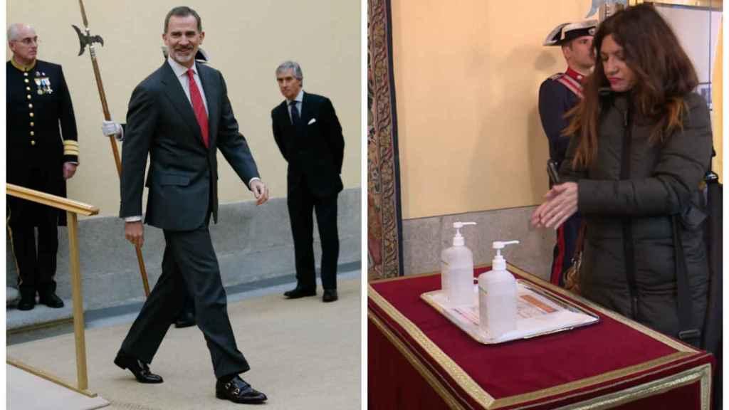Felipe VI junto a una imagen de los geles desinfectantes.