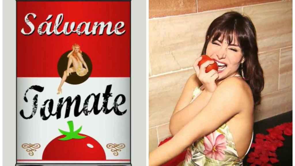El nuevo logo de 'Sálvcame Tomate' junto a la intervención de Miriam en montaje JALEOS.