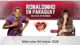 Cartel publicitario de la visita de Ronaldinho a Paraguay