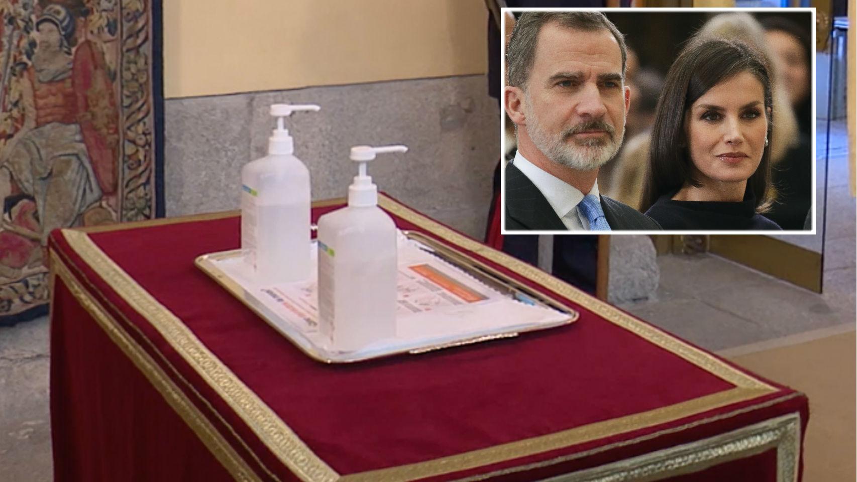 Los reyes de España junto a las medidas higiénicas de Zarzuela en montaje JALEOS.