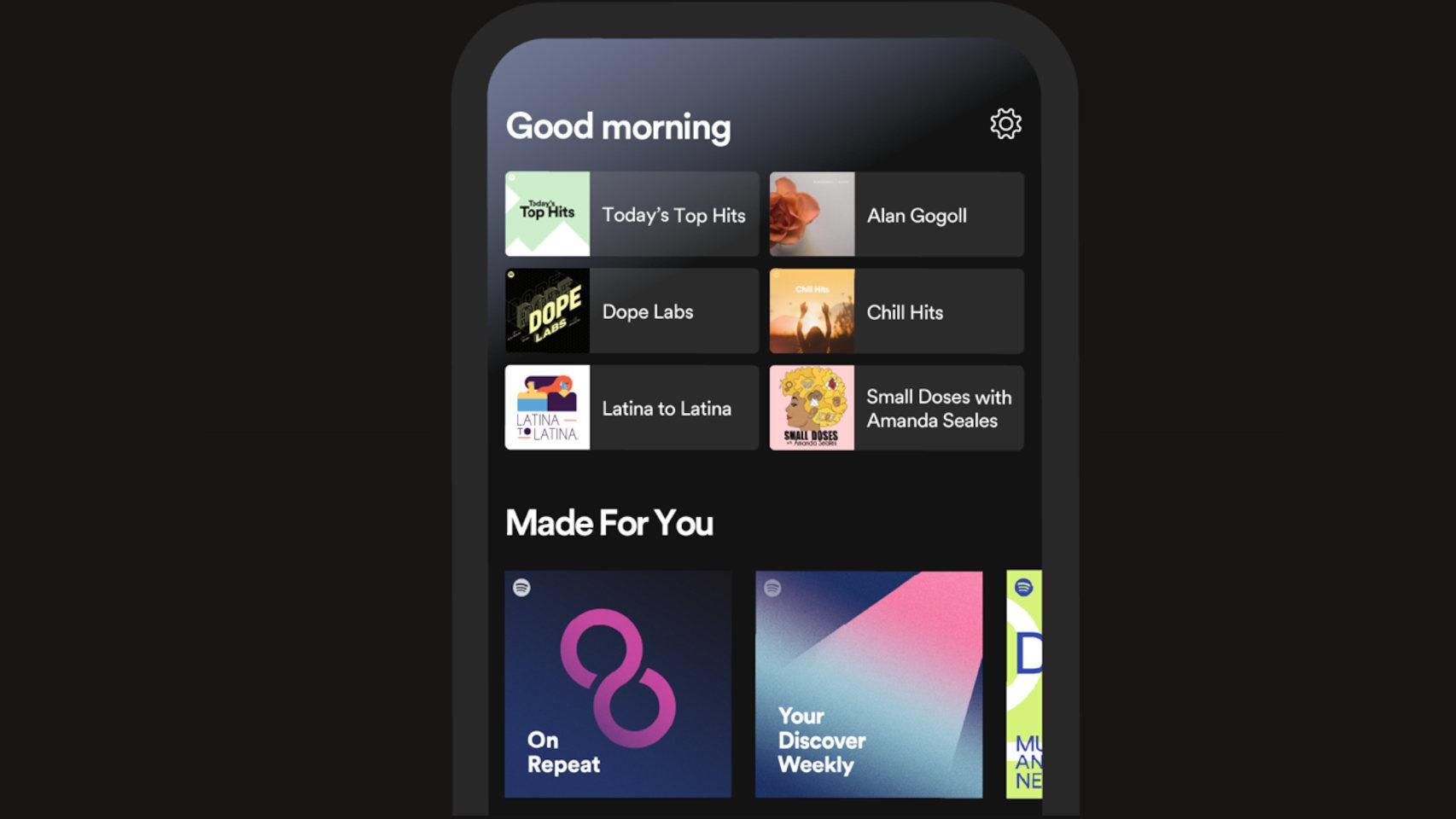 Nueva ventana de inicio de Spotify