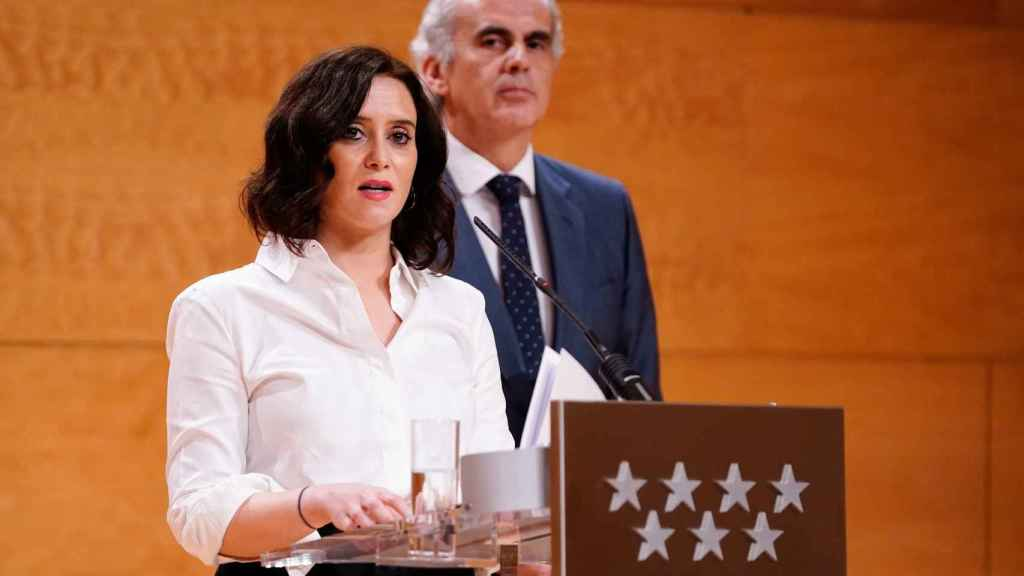 Isabel Díaz Ayuso, ayer, durante la rueda explicando las medidas para combatir el Covid-19