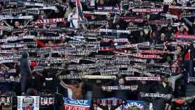 La afición del PSG durante un partido de la Ligue 1