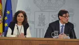 María Jesús Montero y Salvador Illa, tras el Consejo de Ministros.