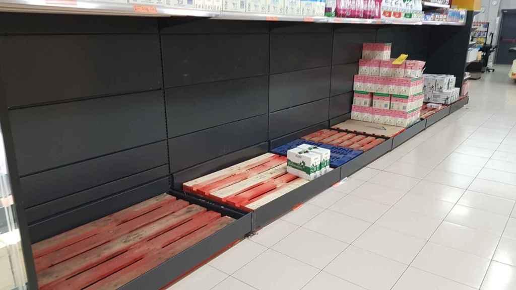 Una de las fotografías del desabastecimiento en supermercados