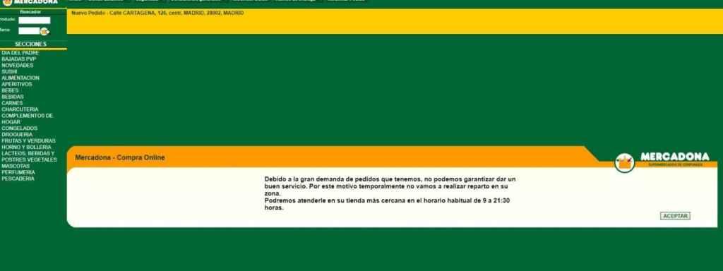 Compra online de Mercadona suspendida.