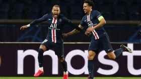 Neymar y Marquinhos celebran un gol del PSG ante el Borussia Dortmund