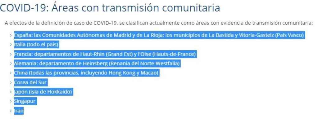 Captura de la web del ministerio.