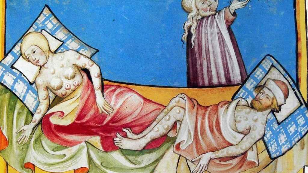 Ilustración de la peste negra en la Biblia de Toggenburg.