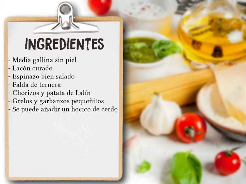 Ingredientes del cocido de Sonsoles Ónega.