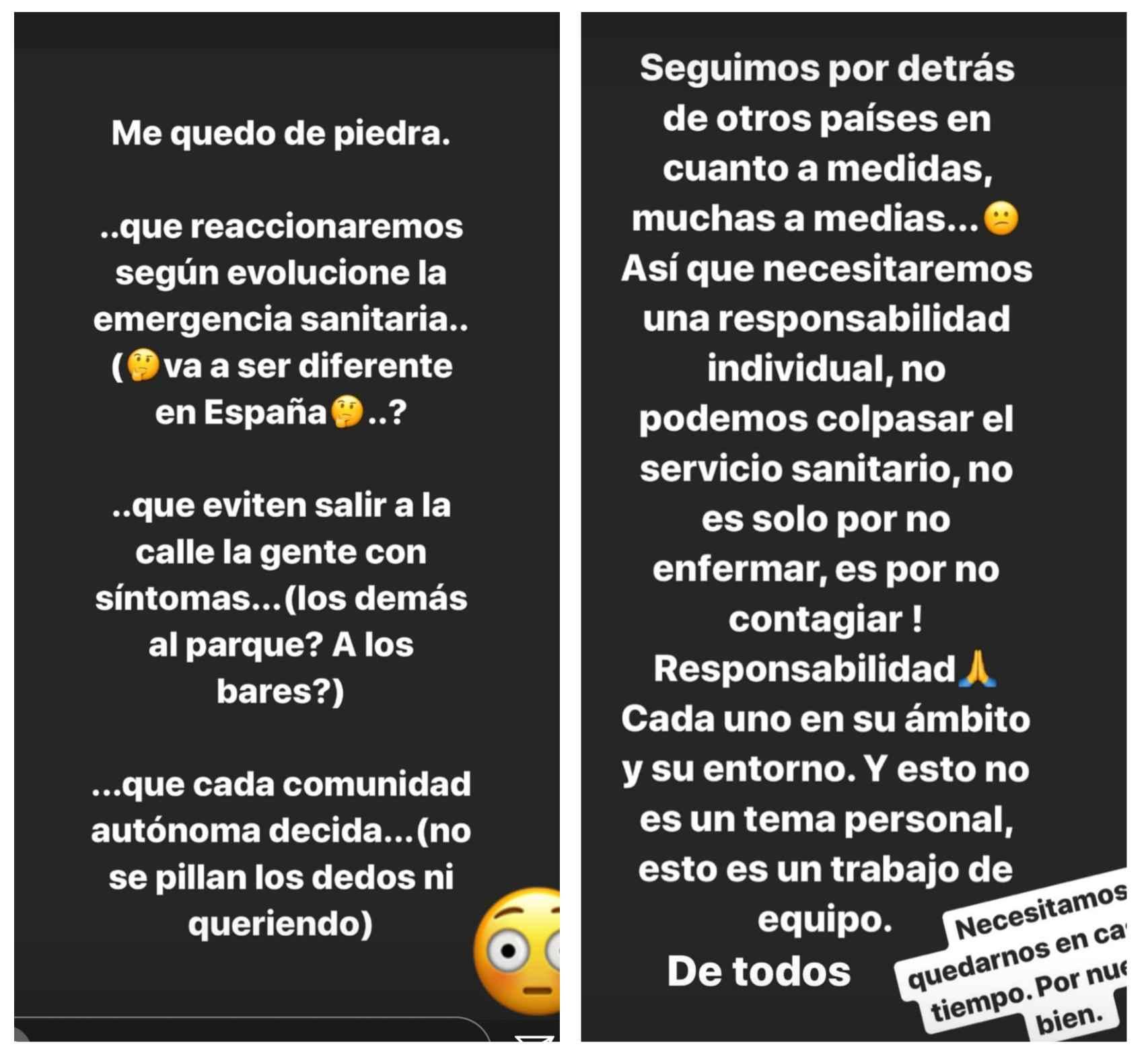Alonso se dirige al Gobierno en Instagram por el coronavirus