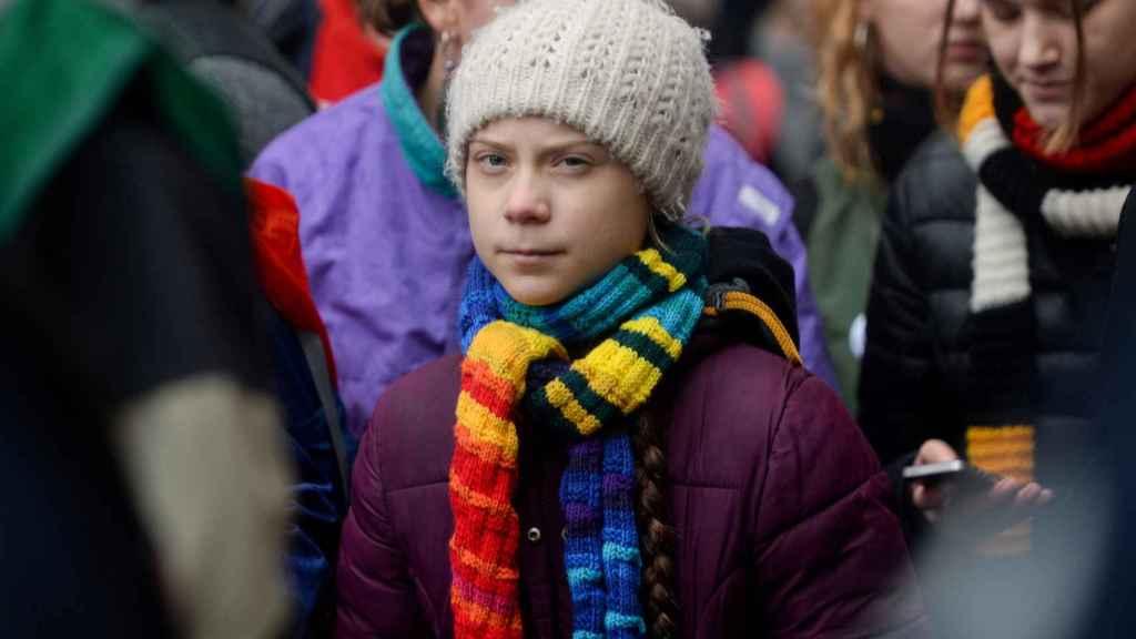 Greta Thunberg en una manifestación contra la crisis climática en Bruselas,  el 6 de marzo de 2020.