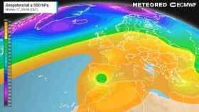 Imagen donde se aprecia la ubicación de la DANA (en verde) sobre la Península el martes. Meteored.