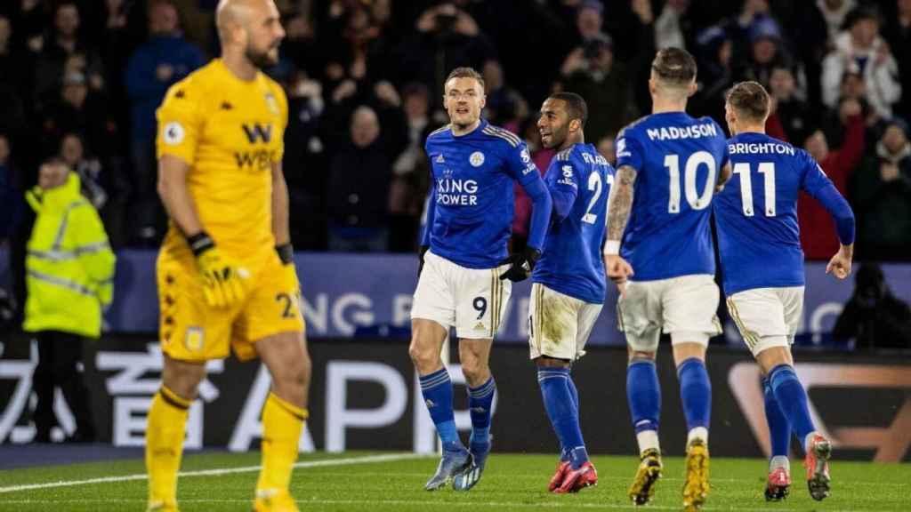 El Leicester celebra un gol ante el Wolverhampton