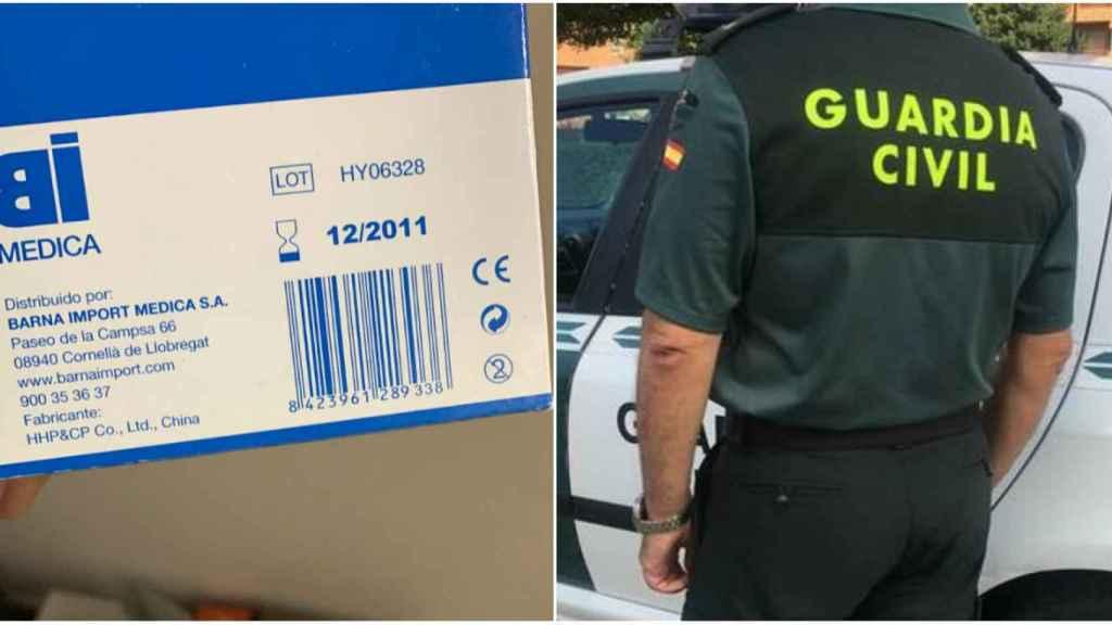 Una caja de mascarillas caducada en 2011 distribuida a algunos agentes.