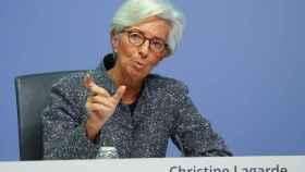La presidenta del BCE, Christine Lagarde, durante una rueda de prensa