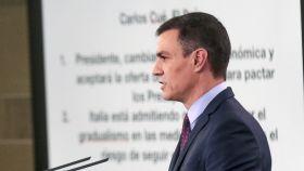 Pedro Sánchez, presidente del Gobierno, en Moncloa.